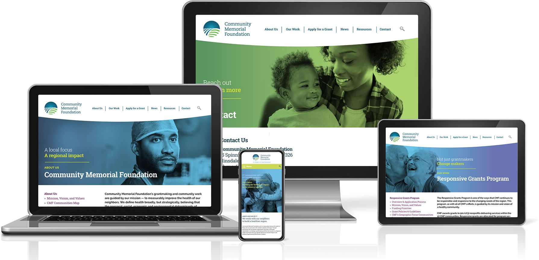 Community Memorial Foundation website displayed on 3 devices