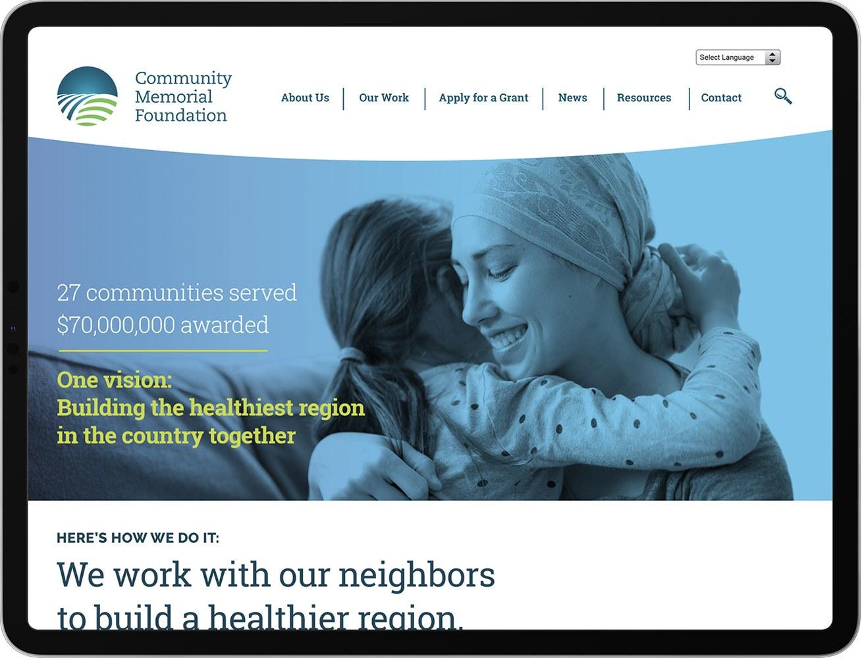 Community Memorial Foundation website displayed on iPad