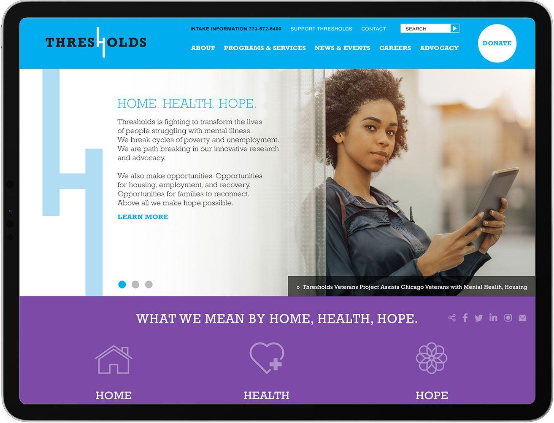 Thresholds website on iPad