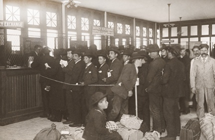 patrons waiting in line at the money exchange in the early 1900's